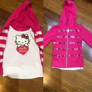 EUC Hello kitty sweatshirt & built in shirt size 5
